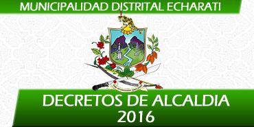 Decretos de Alcaldía - 2016