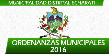 Ordenanzas Municipales 2016 - Municipalidad Distrital de Echarati