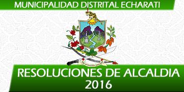 Resoluciones de Alcaldía - 2016