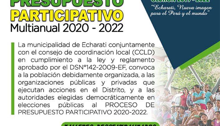Convocatoria Presupuesto Participativo Multianual 2020 - 2022 Municipalidad Echarati