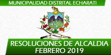 Resoluciones de Alcaldía - Febrero 2019