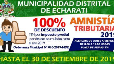 Campaña de Amnistía Tributaria 2019 Echarati