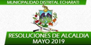 Resoluciones de Alcaldía - Mayo 2019