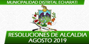 Resoluciones de Alcaldía - Agosto 2019