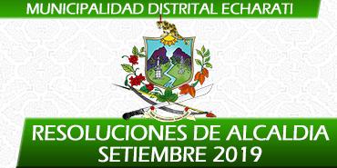 Resoluciones de Alcaldía - Setiembre 2019