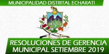 Resoluciones de Gerencia Municipal - Setiembre 2019