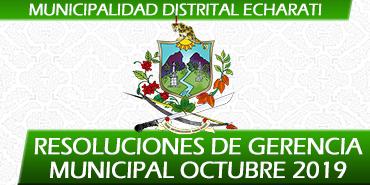Resoluciones de Gerencia Municipal - Octubre 2019