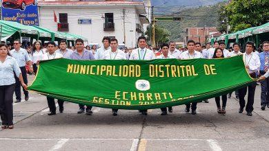 Distrito de Echarati presento saludo a la ciudad de Quillabamba