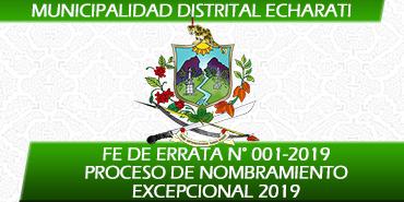 FE DE ERRATA del los Resultados del Proceso de Nombramiento Excepcional 2019