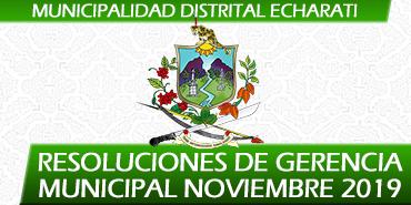 Resoluciones de Gerencia Municipal - Noviembre 2019