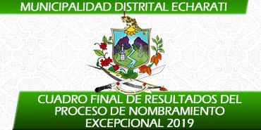 Cuadro Final de Resultados del Proceso de Nombramiento Excepcional 2019