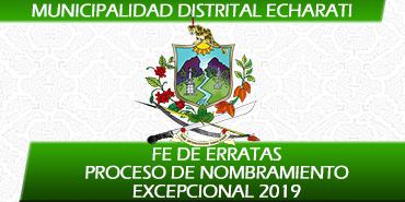 FE DE ERRATAS de los Resultados del Proceso de Nombramiento Excepcional 2019